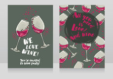 Two posters for wine party Stock Photos