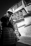 Two Potala Palace Devotees Lhasa Tibet Stock Image