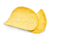 Two potato chips Stock Photos