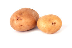 Two potatoes. Isolated on white background royalty free stock photo