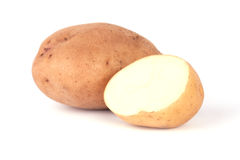 Two potatoes. Isolated on white background royalty free stock images