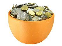 Two pots of coins Royalty Free Stock Images