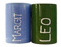 Two pottery cups green and blue Stock Photography