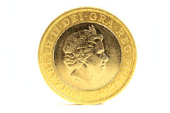 Two pound coin. Isolated on white background stock photos