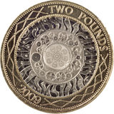 Two pound coin. Macro shot Royalty Free Stock Image