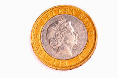 Two pound coin. Isolated on white Royalty Free Stock Images