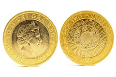 Two pound coins. Two pound coin. two side stock photos