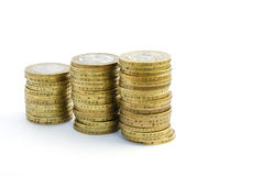 Two pound coins. Three stacks of uk two pound coins Stock Photo