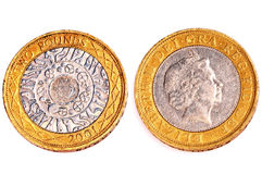 Two pounds coins Stock Images