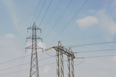 Two power line pylons Stock Photo