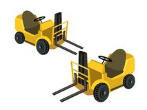 Two Powered Industrial Forklift Trucks on White Ba Stock Photo