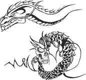 Two powerful dragons for tattoo stencils. Set of two black and white sketches with powerful oriental japanese dragons for tribal tattoo stencils Royalty Free Stock Photos