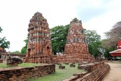 Two prang at Wat Maha That. Two ancient Prang at Wat Maha That , The ancient temple's built in Ayutthaya period , Ayutthaya , Thailand Royalty Free Stock Photos