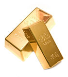 Gold bar  on white Royalty Free Stock Photography
