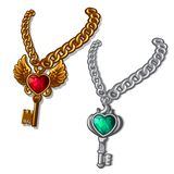 Two precious keys, silver and gold on chain. Pair with precious stones, emerald and heart shaped ruby. Image in cartoon style. Vector illustration isolated on stock illustration