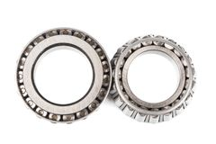Two precision metal bearings on a white background. top view.  Stock Images