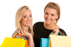 Two preety girls with shopping bags Stock Photography
