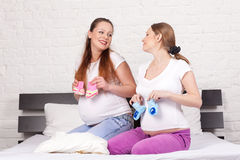 Two pregnant girlfriend Royalty Free Stock Images
