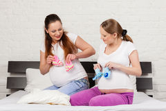 Two pregnant girlfriend Royalty Free Stock Image