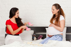 Two pregnant girlfriend Royalty Free Stock Photography