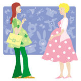 Two pregnant ladies. Illustration of two pregnat ladies talking Vector Illustration