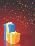 Two Presents. Vector illustration with two presents and sparkling stars on gradient red background Stock Photos