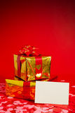 Two presents and blank card Royalty Free Stock Photography