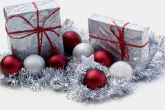 Two presents, eight balls. Stock Photos