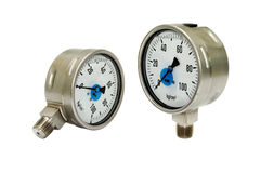 Two Pressure Gauges Royalty Free Stock Photos