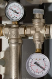Two pressure gauges. To indicate pressure polypropylene tubes Stock Photo