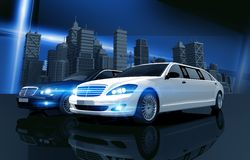 Two Prestigious Limos Royalty Free Stock Images