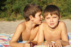 Two preteen friends. Two preteen boys enjoing outdoors Stock Images