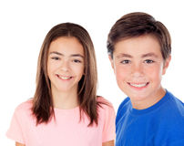 Two preteenagers looking at camera Stock Photo