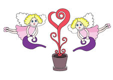 Two pretty angels. Pour fairy red tree of magic hearts Stock Photography