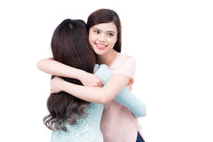 Two pretty asian girls hugging Stock Photo