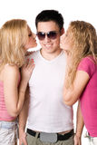 Two pretty blonde kissing young man Royalty Free Stock Image