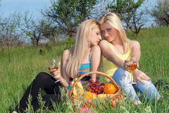 Two pretty blonde with wineglasses Royalty Free Stock Photos