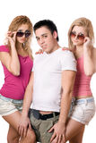 Two pretty blonde women with handsome young man Royalty Free Stock Image
