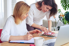 Two pretty businesswomen looking through catalog of color palette. Close-up of two pretty businesswomen looking through catalog of color palette stock photo