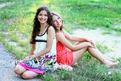 Two pretty caucasian girls friends Royalty Free Stock Image