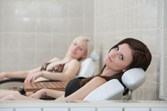 Two pretty Caucasian woman resting Stock Images