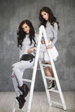 Two Pretty cheerful fashion model. Two Pretty cheerful fashion  model on ladder in studio Royalty Free Stock Photography