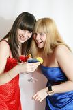 Two pretty friends with cocktail Royalty Free Stock Photo