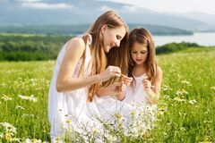 Two pretty friends girls at meadow of chamomiles Stock Images