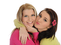 Two pretty girl friends having fun and laughing Royalty Free Stock Photos