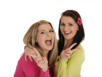 Two pretty girl friends having fun and laughing Royalty Free Stock Images