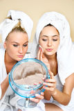 Two Pretty Girl With The Mirror Stock Images