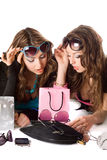 Two pretty girlfriends in sunglasses Royalty Free Stock Image