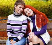 Two pretty girls  in autumn park Royalty Free Stock Images