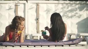 Two pretty girls with coctails in beatiful swimwear have cheerful conversation on the lounge near swimming pool stock footage